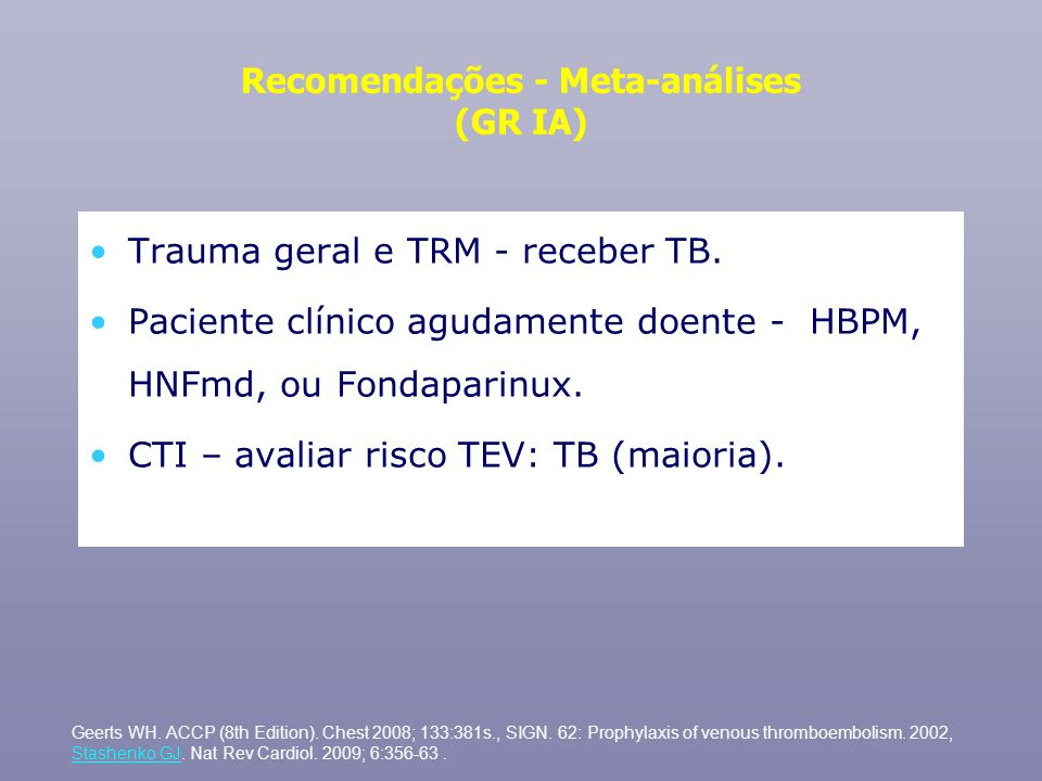 Recomendações - Meta-análises (GR IA) Trauma geral e TRM - receber TB. Paciente clínico agudamente doente - HBPM, HNFmd, ou Fondaparinux. CTI – avalia
