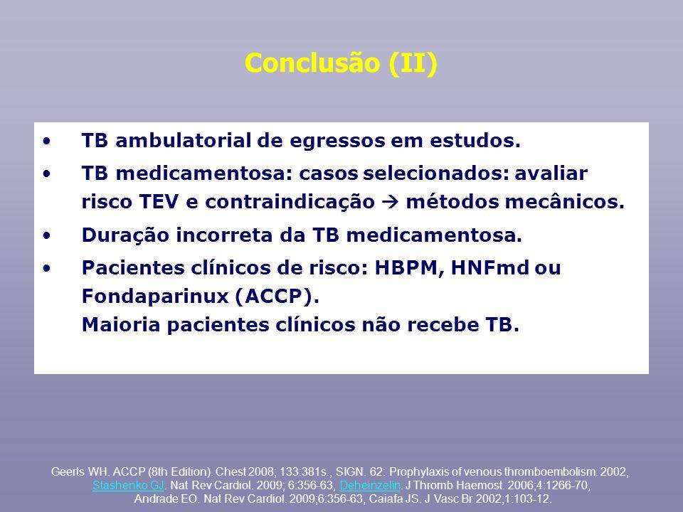 Conclusão (II) TB ambulatorial de egressos em estudos. TB medicamentosa: casos selecionados: avaliar risco TEV e contraindicação métodos mecânicos. Du