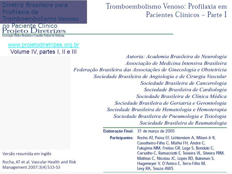 www.projetodiretrizes.org.br Volume IV, partes I, II e III Diretriz Brasileira para Profilaxia de Tromboembolismo Venoso no Paciente Clínico Versão re