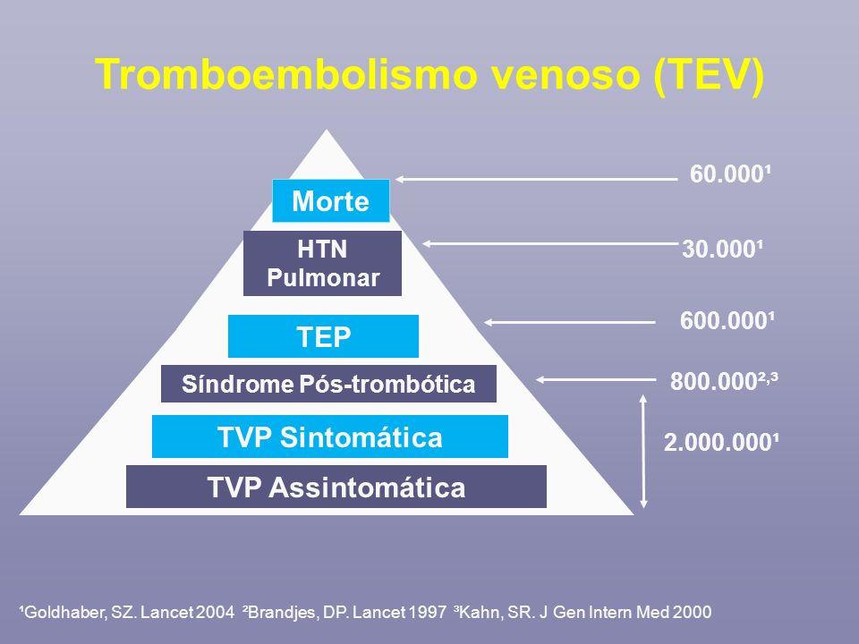¹Goldhaber, SZ. Lancet 2004 ²Brandjes, DP. Lancet 1997 ³Kahn, SR. J Gen Intern Med 2000 Morte 60.000¹ HTN Pulmonar 30.000¹ TEP 600.000¹ Síndrome Pós-t