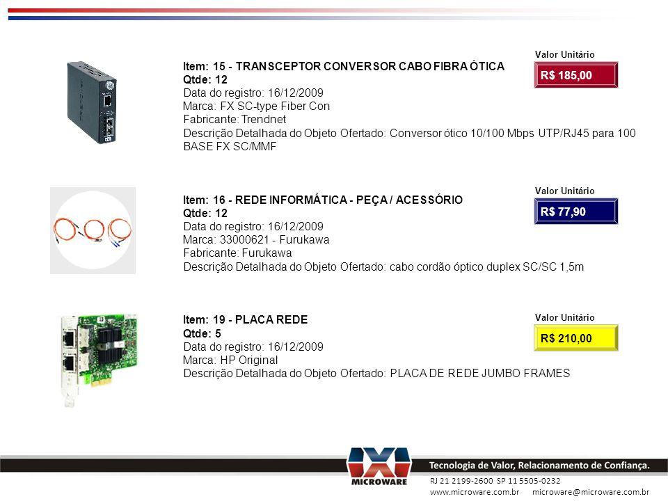 RJ 21 2199-2600 SP 11 5505-0232 www.microware.com.br microware@microware.com.br Item: 15 - TRANSCEPTOR CONVERSOR CABO FIBRA ÓTICA Qtde: 12 Data do reg