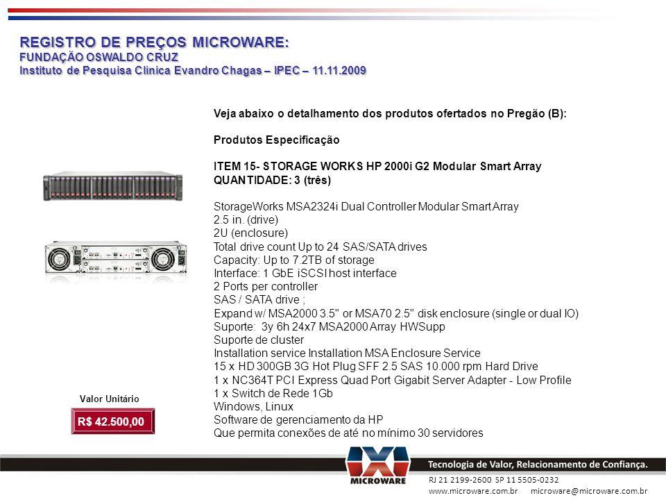 RJ 21 2199-2600 SP 11 5505-0232 www.microware.com.br microware@microware.com.br REGISTRO DE PREÇOS MICROWARE: FUNDAÇÃO OSWALDO CRUZ Instituto de Pesqu