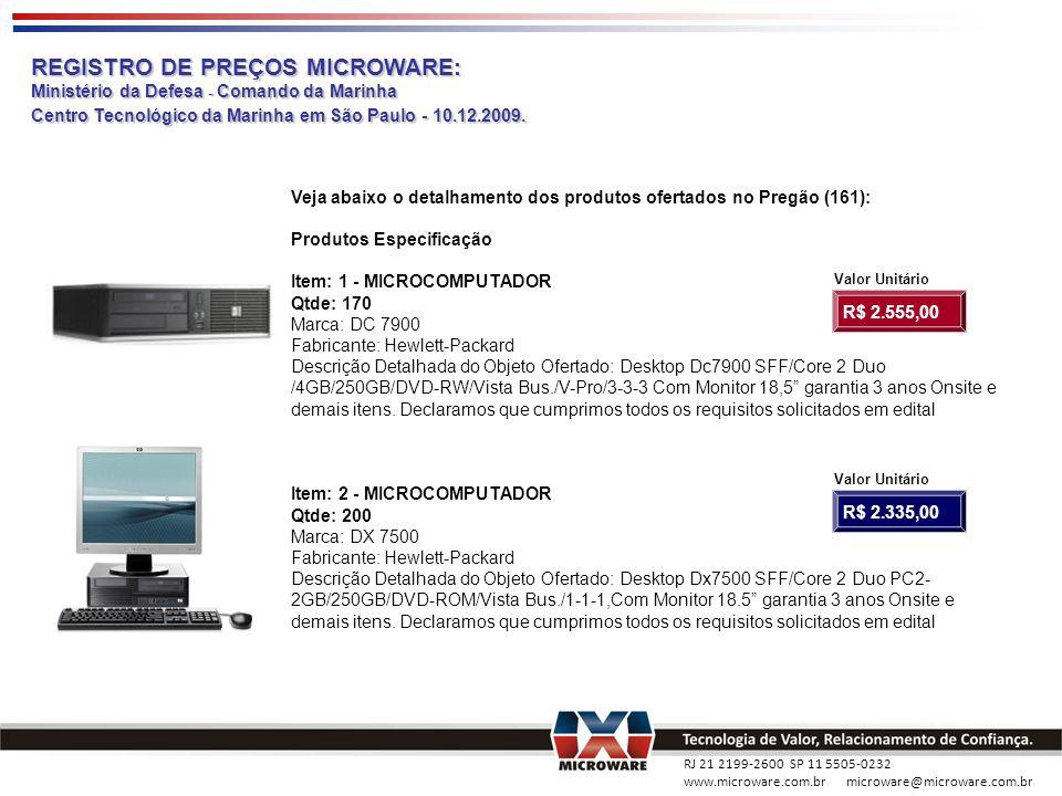 RJ 21 2199-2600 SP 11 5505-0232 www.microware.com.br microware@microware.com.br REGISTRO DE PREÇOS MICROWARE: Ministério da Defesa - Comando da Marinh