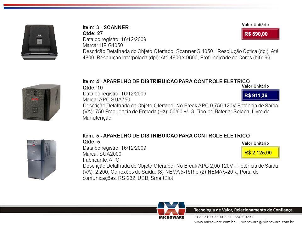 RJ 21 2199-2600 SP 11 5505-0232 www.microware.com.br microware@microware.com.br Item: 3 - SCANNER Qtde: 27 Data do registro: 16/12/2009 Marca: HP G405