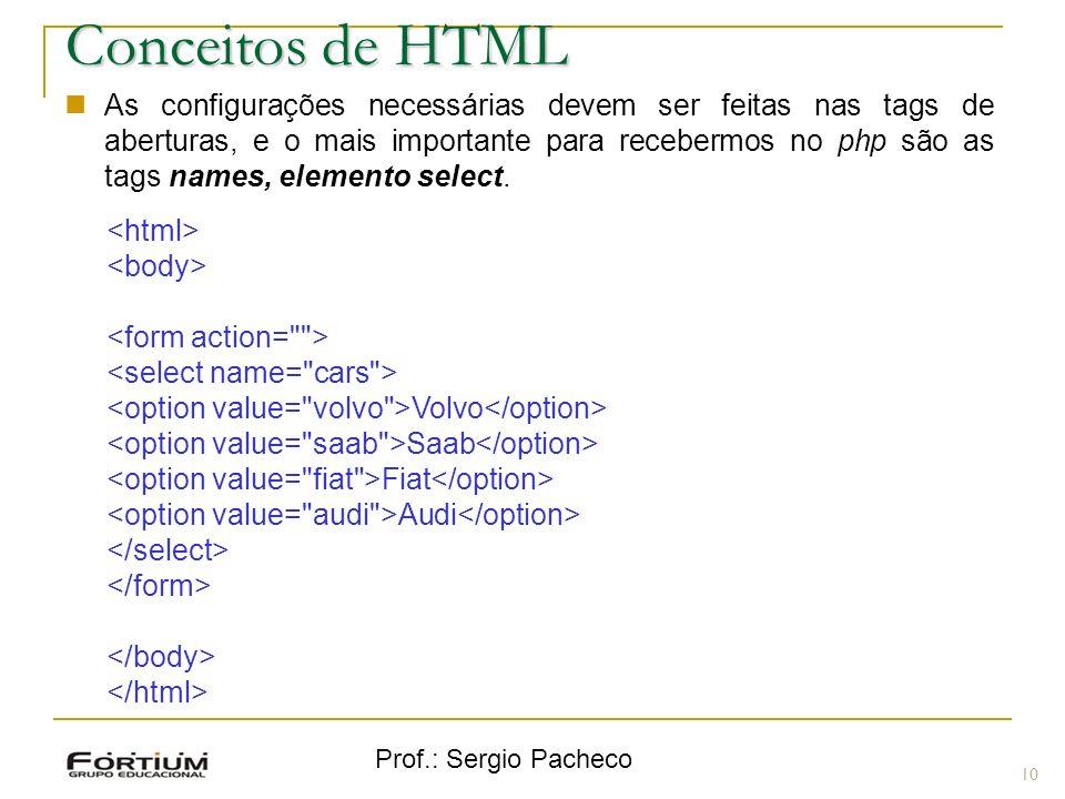 Prof.: Sergio Pacheco 10 Conceitos de HTML As configurações necessárias devem ser feitas nas tags de aberturas, e o mais importante para recebermos no