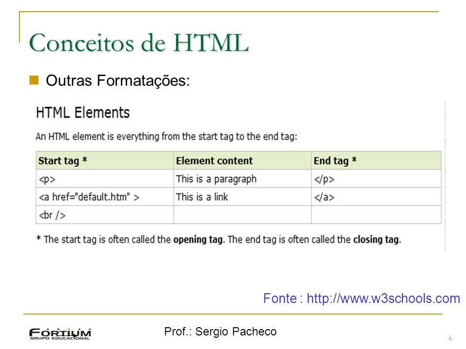 Prof.: Sergio Pacheco 7 Conceitos de HTML Links: This is a link Linha Fonte : http://www.w3schools.com