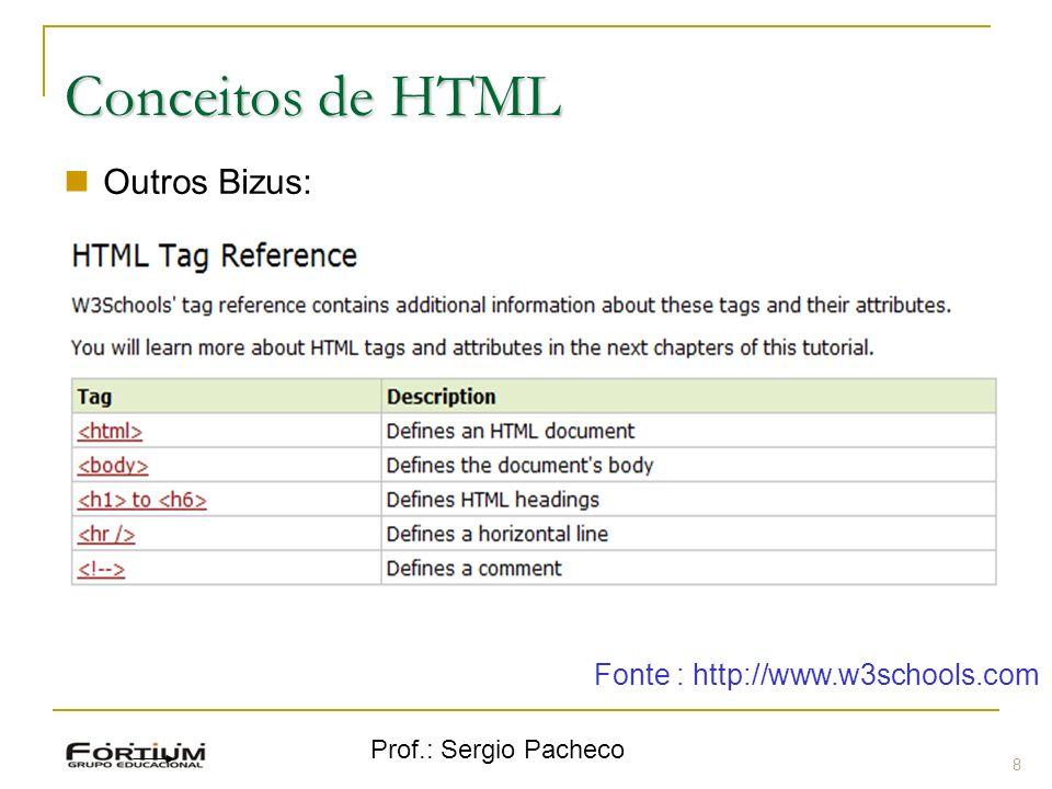 Prof.: Sergio Pacheco 8 Conceitos de HTML Outros Bizus: Linha Fonte : http://www.w3schools.com