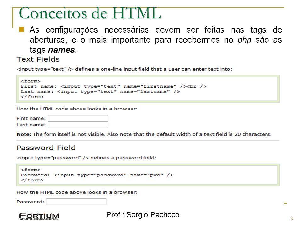 Prof.: Sergio Pacheco 9 Conceitos de HTML As configurações necessárias devem ser feitas nas tags de aberturas, e o mais importante para recebermos no