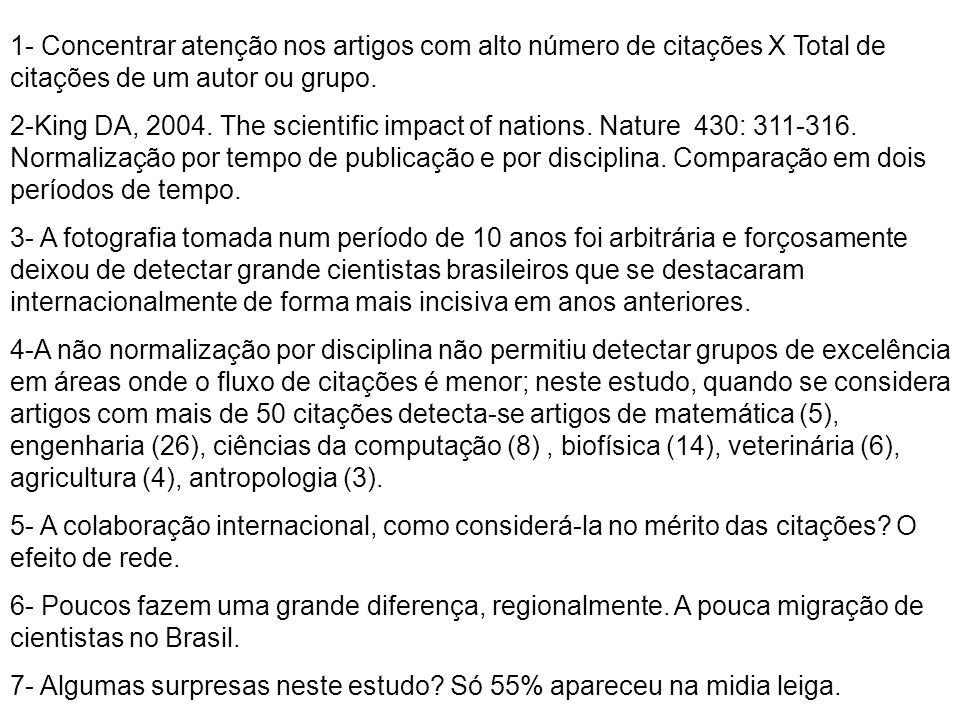 1- Concentrar atenção nos artigos com alto número de citações X Total de citações de um autor ou grupo. 2-King DA, 2004. The scientific impact of nati