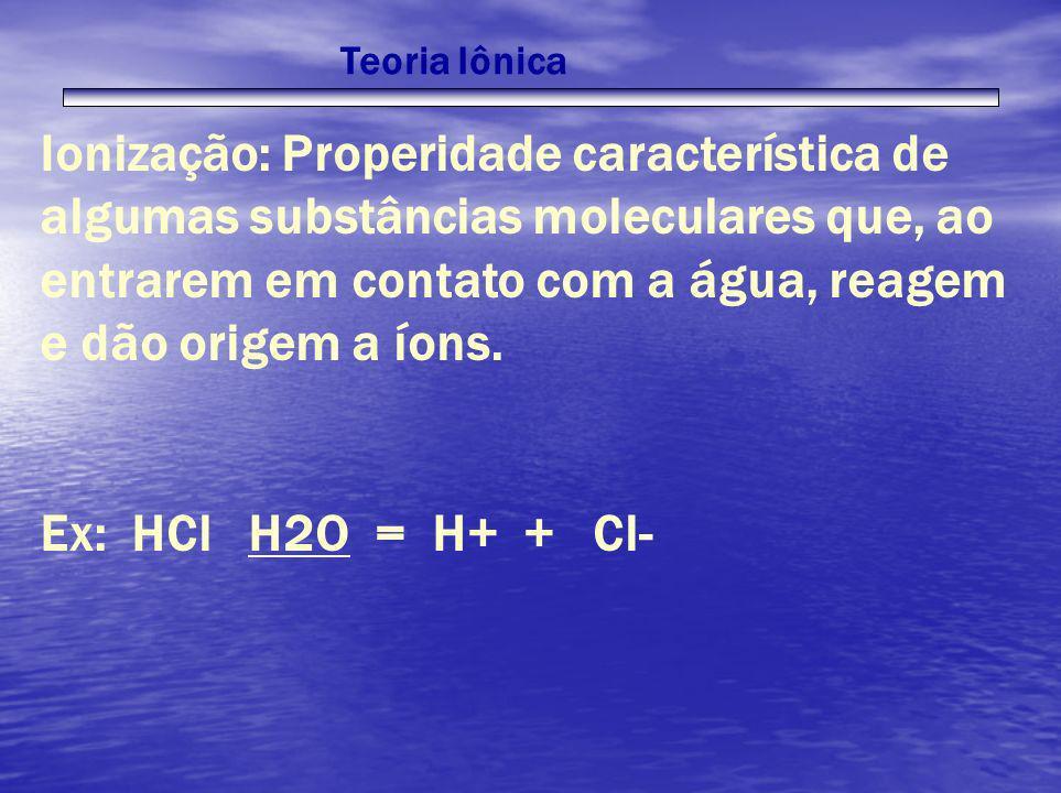 Teoria Iônica Ionização: Properidade característica de algumas substâncias moleculares que, ao entrarem em contato com a água, reagem e dão origem a í