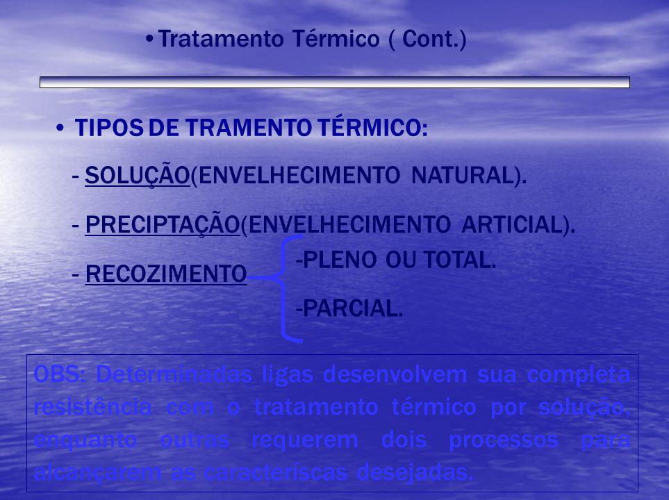 TIPOS DE TRAMENTO TÉRMICO: - SOLUÇÃO(ENVELHECIMENTO NATURAL). - PRECIPTAÇÃO(ENVELHECIMENTO ARTICIAL). - RECOZIMENTO OBS: Determinadas ligas desenvolve