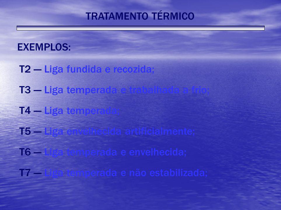 TRATAMENTO TÉRMICO EXEMPLOS: T2 --- Liga fundida e recozida; T3 --- Liga temperada e trabalhada a frio; T4 --- Liga temperada; T5 --- Liga envelhecida