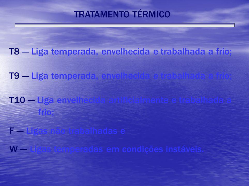 TRATAMENTO TÉRMICO T8 --- Liga temperada, envelhecida e trabalhada a frio; T9 --- Liga temperada, envelhecida e trabalhada a frio; T10 --- Liga envelh