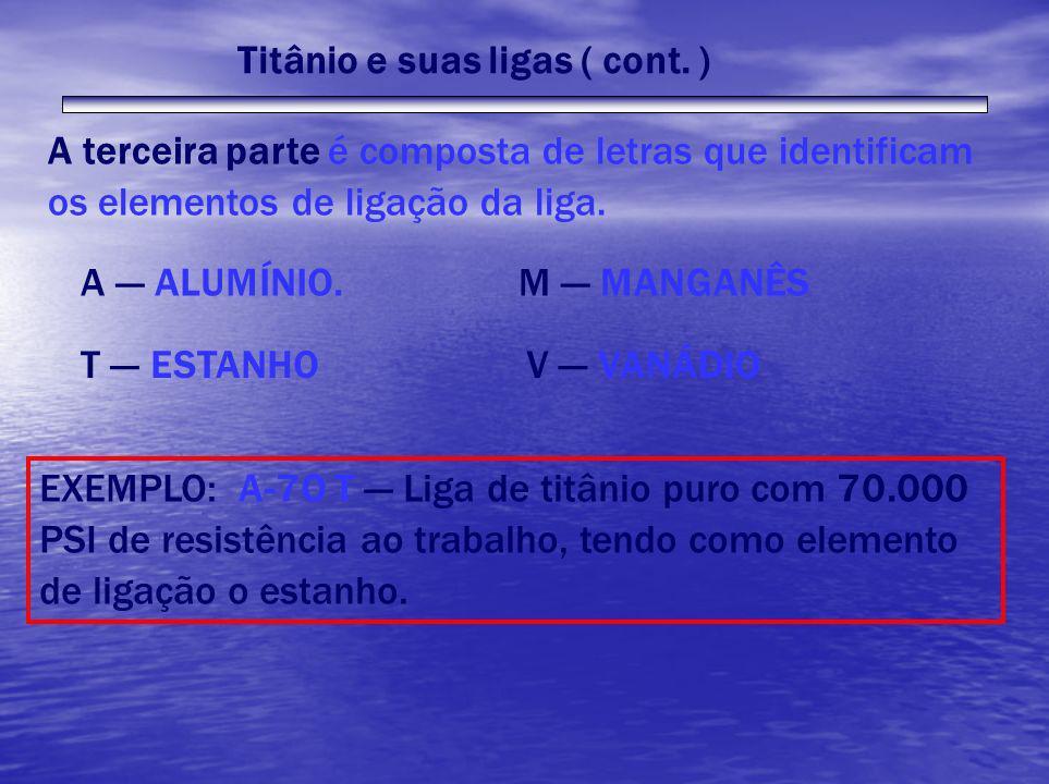 Titânio e suas ligas ( cont. ) A terceira parte é composta de letras que identificam os elementos de ligação da liga. A --- ALUMÍNIO. T --- ESTANHO M
