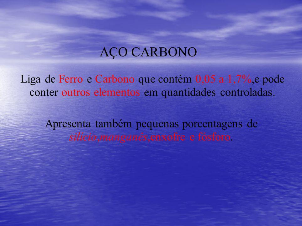 Liga de Ferro e Carbono que contém 0,05 a 1,7%,e pode conter outros elementos em quantidades controladas. AÇO CARBONO Apresenta também pequenas porcen