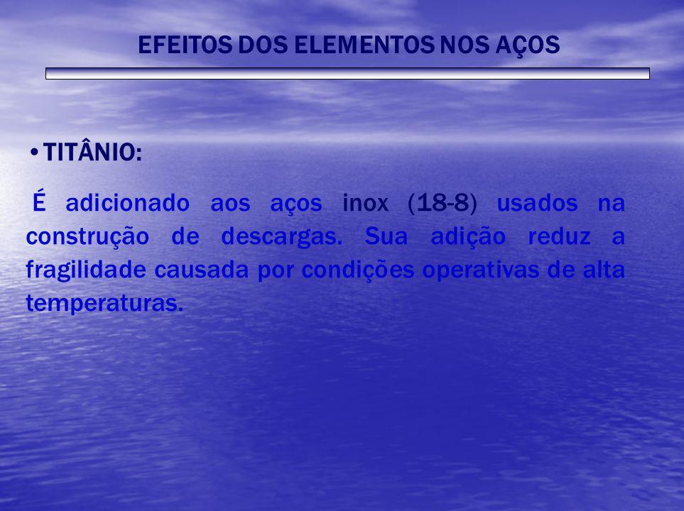EFEITOS DOS ELEMENTOS NOS AÇOS TITÂNIO: É adicionado aos aços inox (18-8) usados na construção de descargas. Sua adição reduz a fragilidade causada po