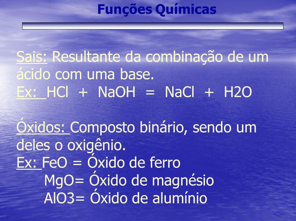 Funções Químicas Sais: Resultante da combinação de um ácido com uma base. Ex: HCl + NaOH = NaCl + H2O Óxidos: Composto binário, sendo um deles o oxigê
