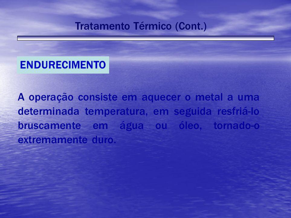 Tratamento Térmico (Cont.) ENDURECIMENTO A operação consiste em aquecer o metal a uma determinada temperatura, em seguida resfriá-lo bruscamente em ág