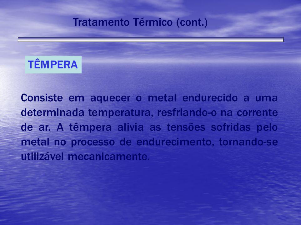 TÊMPERA Consiste em aquecer o metal endurecido a uma determinada temperatura, resfriando-o na corrente de ar. A têmpera alivia as tensões sofridas pel