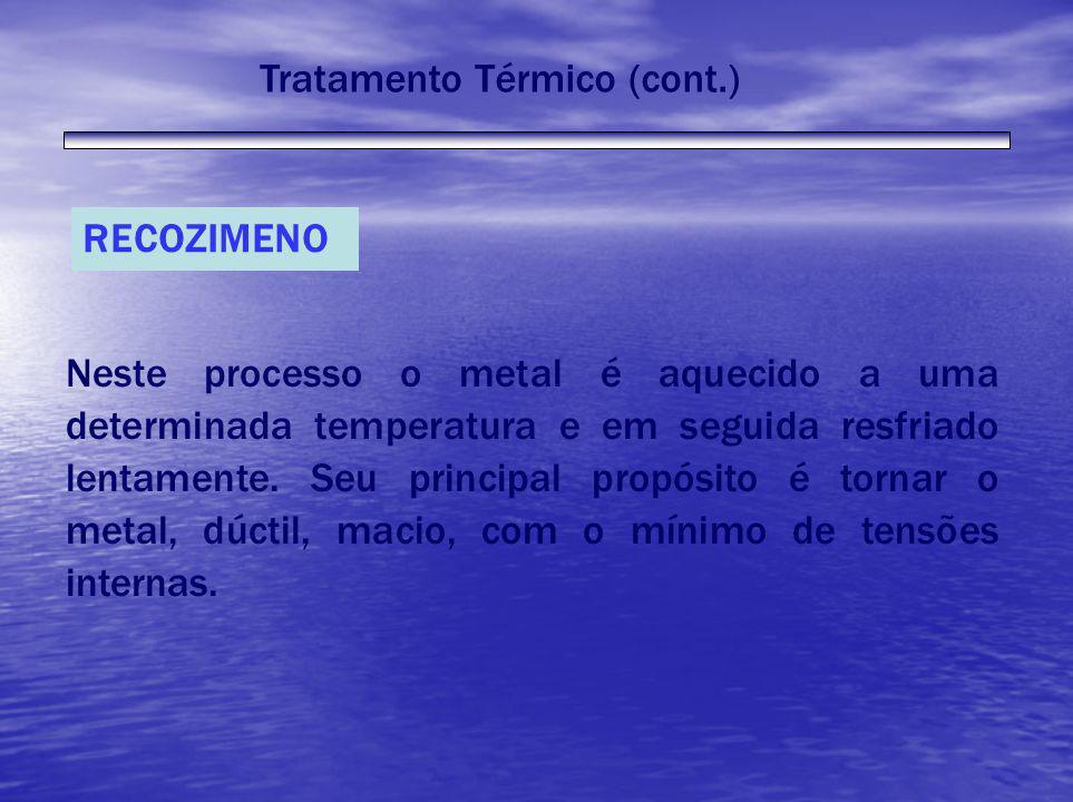 RECOZIMENO Neste processo o metal é aquecido a uma determinada temperatura e em seguida resfriado lentamente. Seu principal propósito é tornar o metal