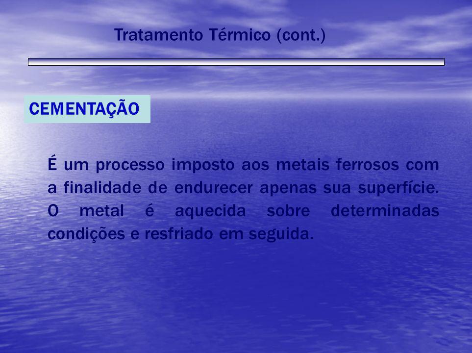 Tratamento Térmico (cont.) CEMENTAÇÃO É um processo imposto aos metais ferrosos com a finalidade de endurecer apenas sua superfície. O metal é aquecid