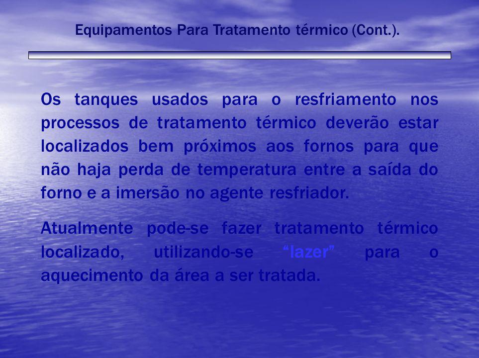 Equipamentos Para Tratamento térmico (Cont.). Os tanques usados para o resfriamento nos processos de tratamento térmico deverão estar localizados bem
