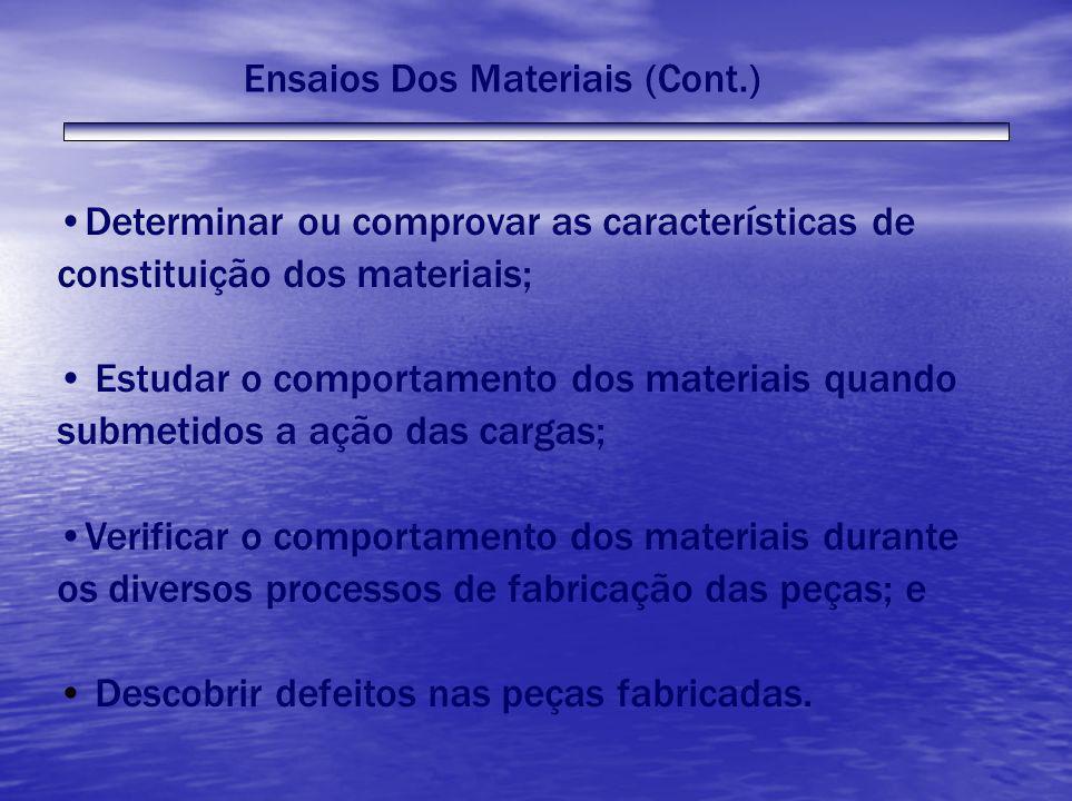 Ensaios Dos Materiais (Cont.) Determinar ou comprovar as características de constituição dos materiais; Estudar o comportamento dos materiais quando s