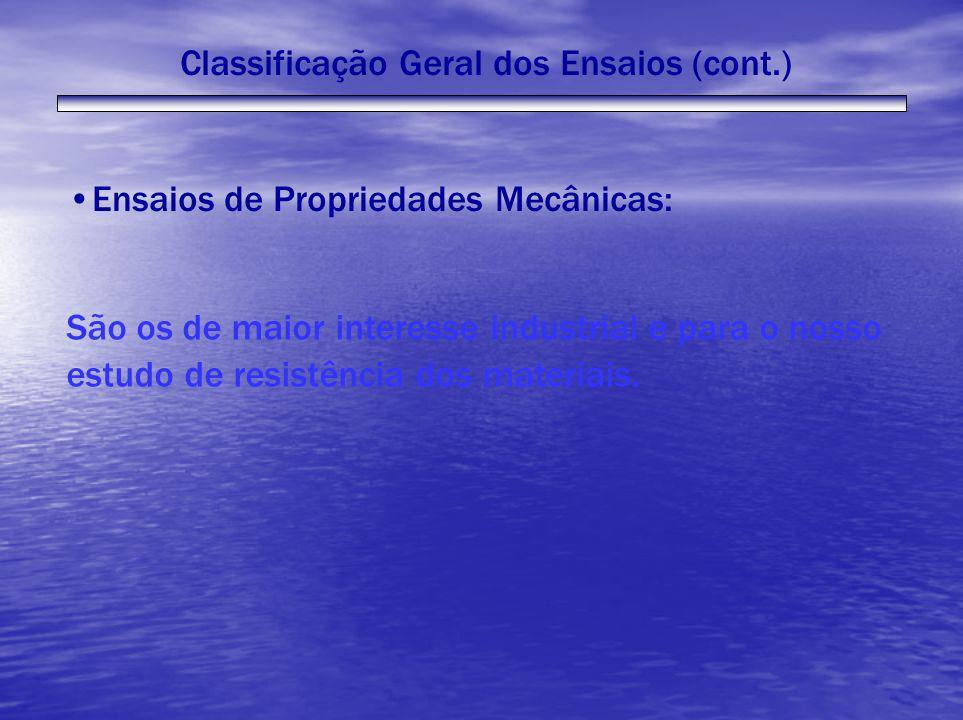 Classificação Geral dos Ensaios (cont.) Ensaios de Propriedades Mecânicas: São os de maior interesse industrial e para o nosso estudo de resistência d