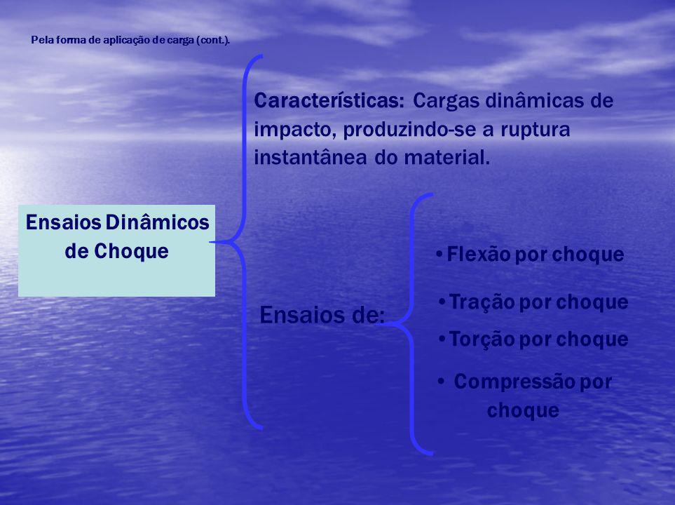 Ensaios Dinâmicos de Choque Características: Cargas dinâmicas de impacto, produzindo-se a ruptura instantânea do material. Ensaios de: Flexão por choq