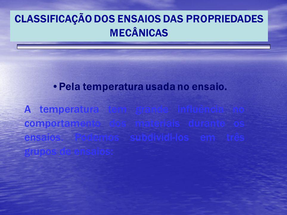 CLASSIFICAÇÃO DOS ENSAIOS DAS PROPRIEDADES MECÂNICAS Pela temperatura usada no ensaio. A temperatura tem grande influência no comportamento dos materi