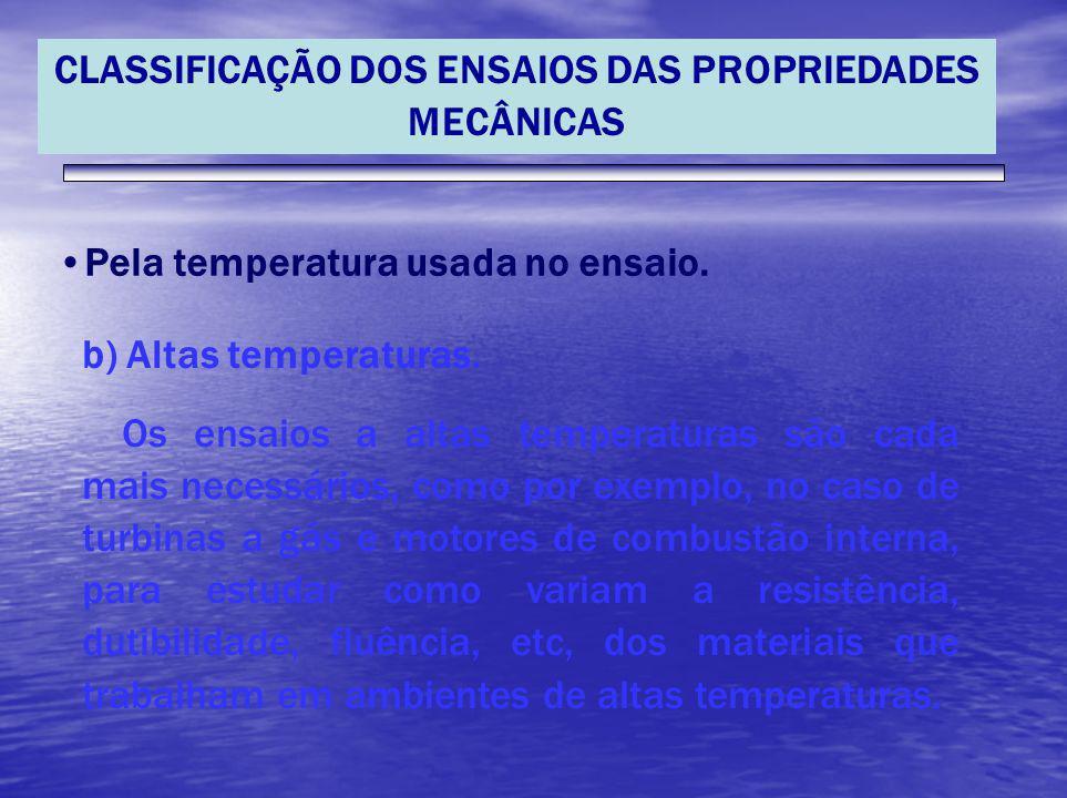 CLASSIFICAÇÃO DOS ENSAIOS DAS PROPRIEDADES MECÂNICAS Pela temperatura usada no ensaio. b) Altas temperaturas. Os ensaios a altas temperaturas são cada