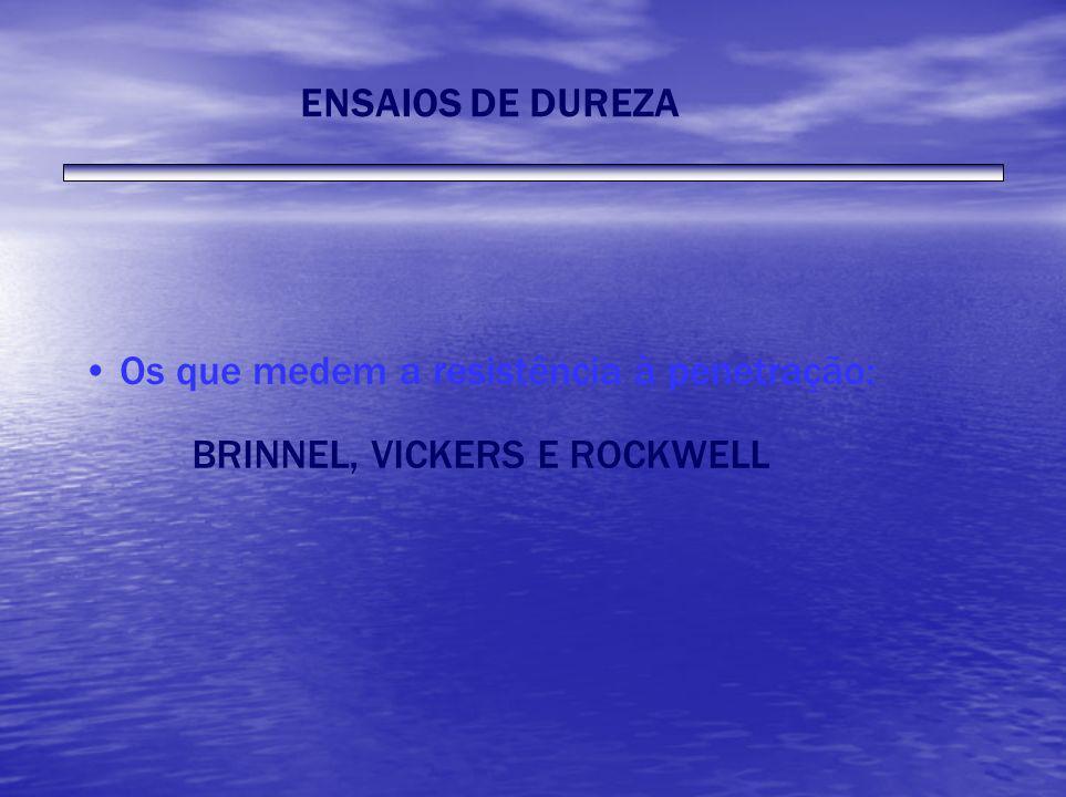 ENSAIOS DE DUREZA Os que medem a resistência à penetração: BRINNEL, VICKERS E ROCKWELL