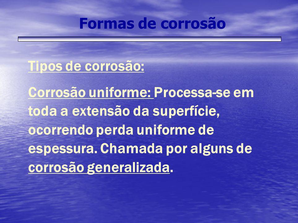 Formas de corrosão Tipos de corrosão: Corrosão uniforme: Processa-se em toda a extensão da superfície, ocorrendo perda uniforme de espessura. Chamada