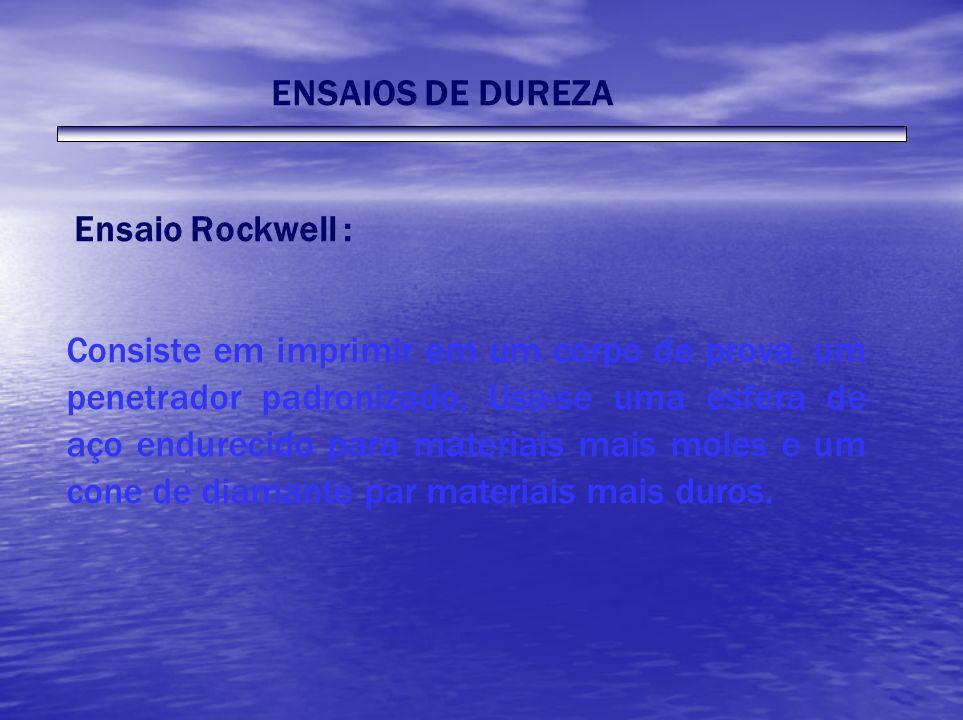 ENSAIOS DE DUREZA Ensaio Rockwell : Consiste em imprimir em um corpo de prova, um penetrador padronizado. Usa-se uma esfera de aço endurecido para mat