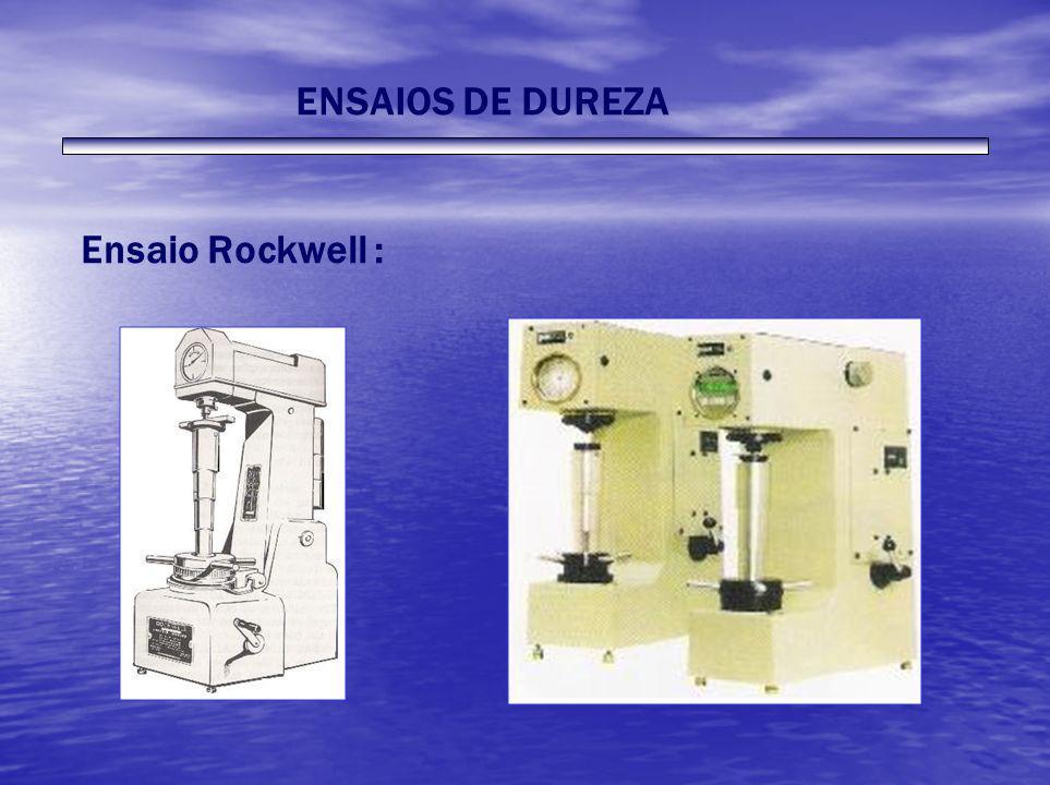 ENSAIOS DE DUREZA Ensaio Rockwell :