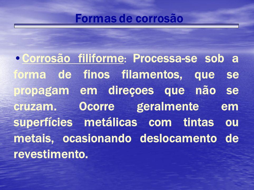 Formas de corrosão Corrosão filiforme : Processa-se sob a forma de finos filamentos, que se propagam em direçoes que não se cruzam. Ocorre geralmente