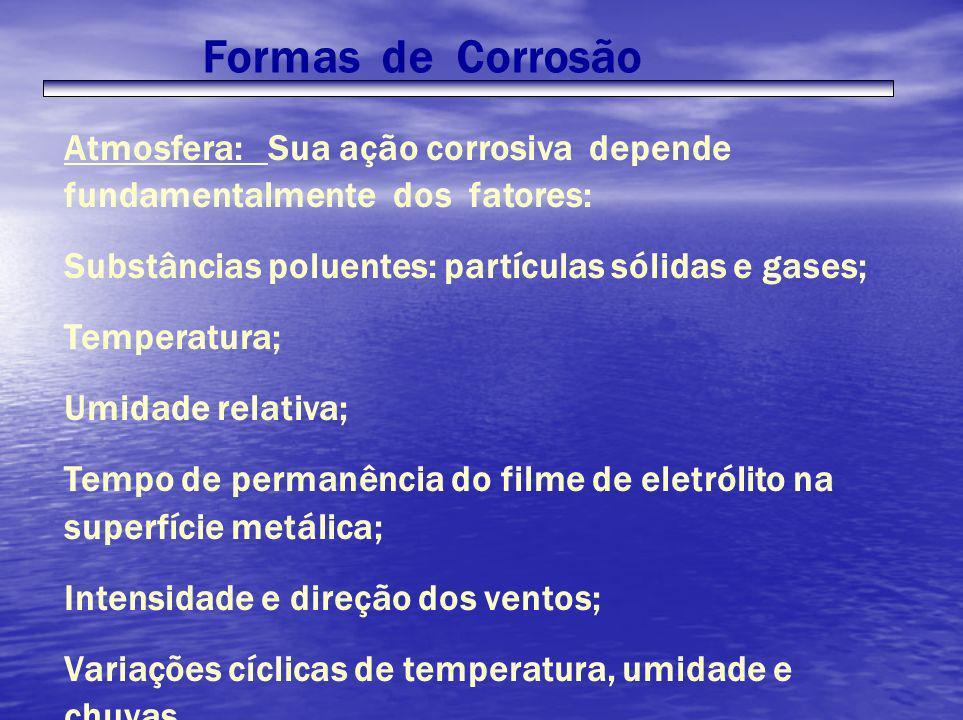 Atmosfera: Sua ação corrosiva depende fundamentalmente dos fatores: Substâncias poluentes: partículas sólidas e gases; Temperatura; Umidade relativa;