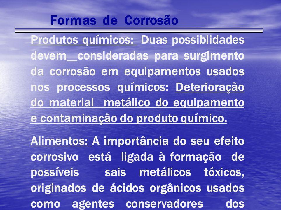 Formas de Corrosão Produtos químicos: Duas possiblidades devem consideradas para surgimento da corrosão em equipamentos usados nos processos químicos: