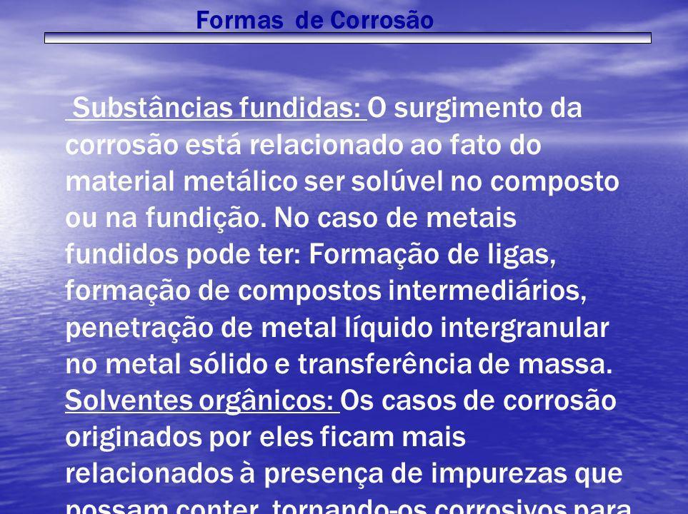 Formas de Corrosão Substâncias fundidas: O surgimento da corrosão está relacionado ao fato do material metálico ser solúvel no composto ou na fundição