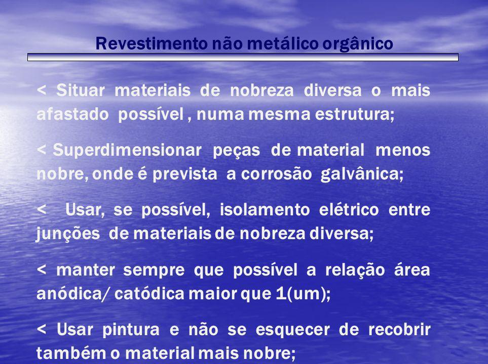 Revestimento não metálico orgânico < Situar materiais de nobreza diversa o mais afastado possível, numa mesma estrutura; < Superdimensionar peças de m