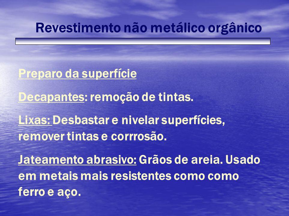 Revestimento não metálico orgânico Preparo da superfície Decapantes: remoção de tintas. Lixas: Desbastar e nivelar superfícies, remover tintas e corrr