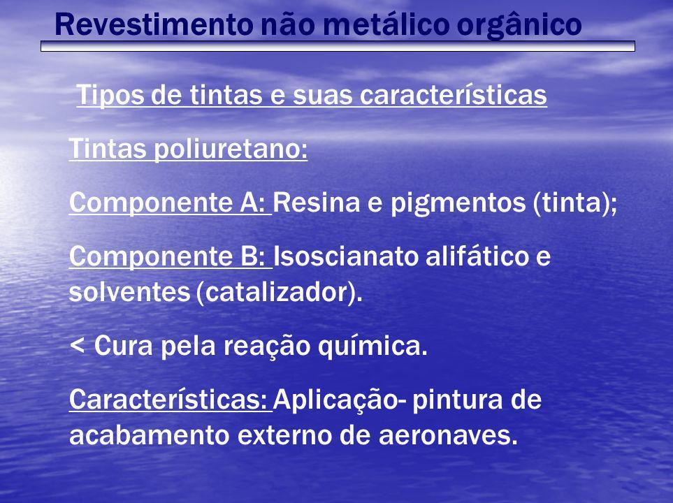 Revestimento não metálico orgânico Tipos de tintas e suas características Tintas poliuretano: Componente A: Resina e pigmentos (tinta); Componente B: