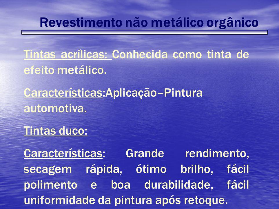 Revestimento não metálico orgânico Tintas acrílicas: Conhecida como tinta de efeito metálico. Características:Aplicação–Pintura automotiva. Tintas duc