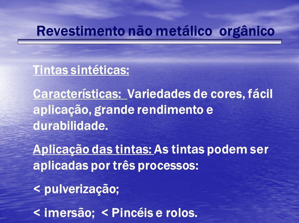 Revestimento não metálico orgânico Tintas sintéticas: Características: Variedades de cores, fácil aplicação, grande rendimento e durabilidade. Aplicaç