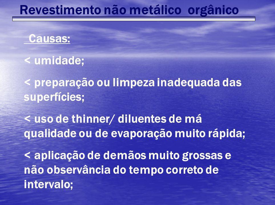 Revestimento não metálico orgânico Causas: < umidade; < preparação ou limpeza inadequada das superfícies; < uso de thinner/ diluentes de má qualidade