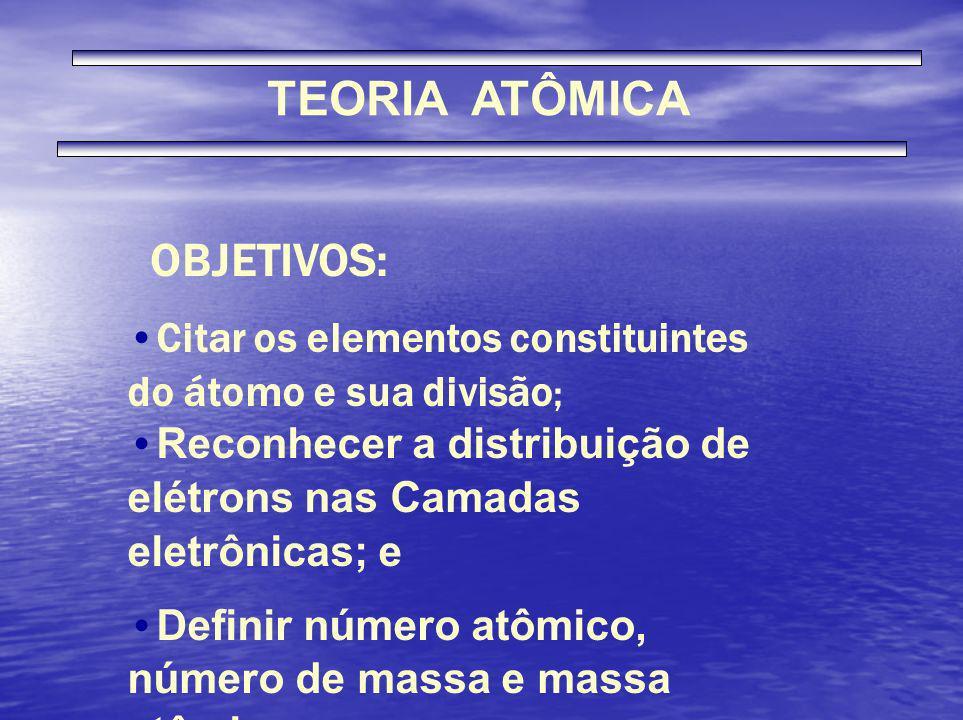 TEORIA ATÔMICA Citar os elementos constituintes do átomo e sua divisão ; OBJETIVOS: Reconhecer a distribuição de elétrons nas Camadas eletrônicas; e D