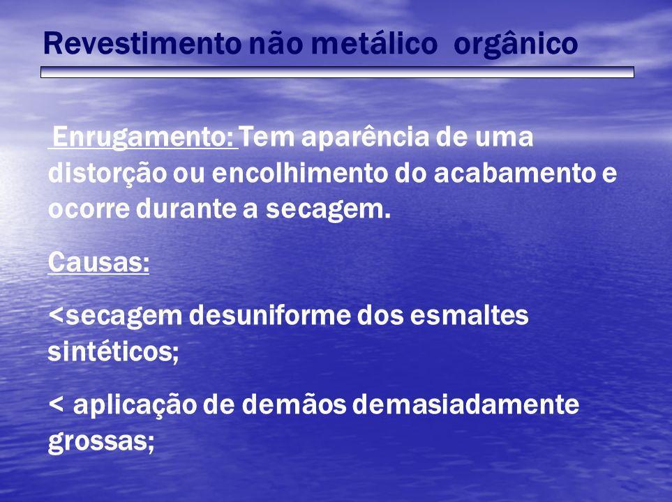 Revestimento não metálico orgânico Enrugamento: Tem aparência de uma distorção ou encolhimento do acabamento e ocorre durante a secagem. Causas: <seca