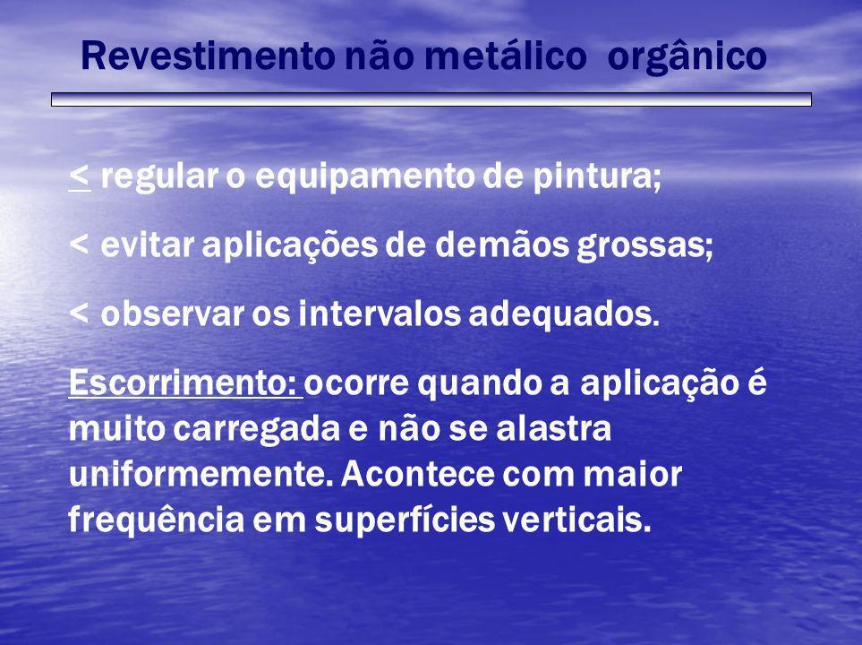 Revestimento não metálico orgânico < regular o equipamento de pintura; < evitar aplicações de demãos grossas; < observar os intervalos adequados. Esco
