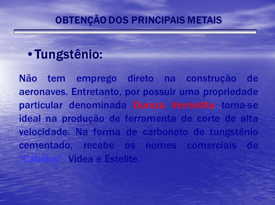 Tungstênio: Não tem emprego direto na construção de aeronaves. Entretanto, por possuir uma propriedade particular denominada Dureza Vermelha torna-se