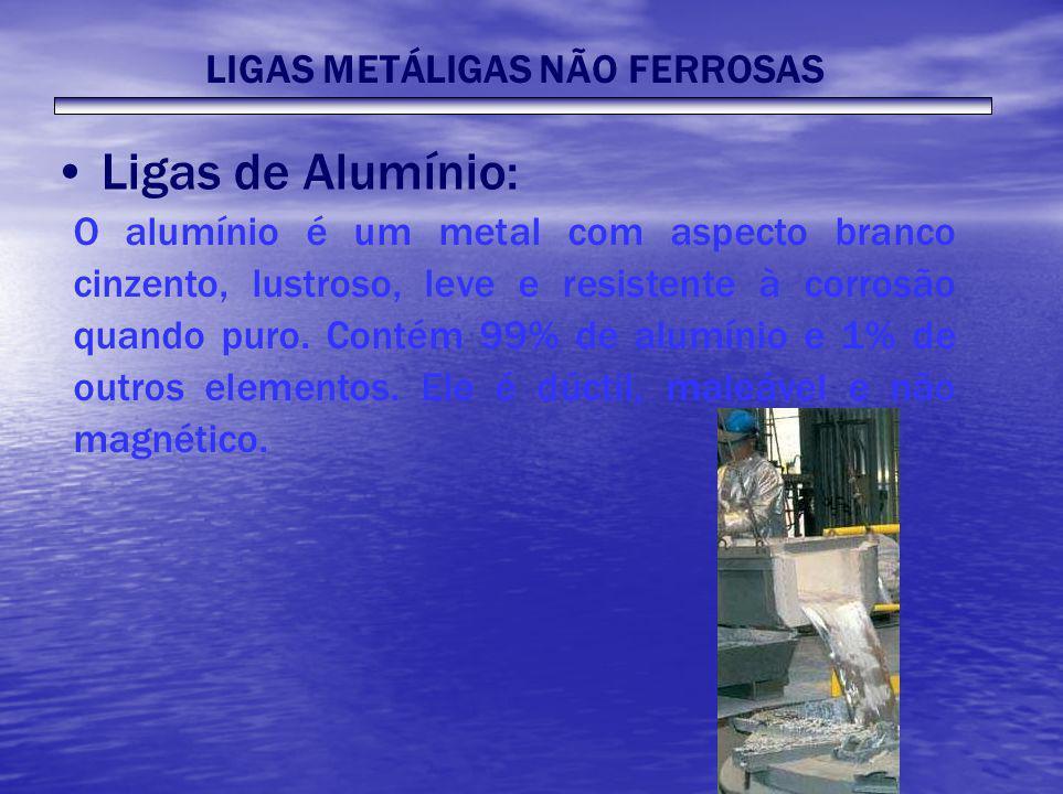 LIGAS METÁLIGAS NÃO FERROSAS Ligas de Alumínio: O alumínio é um metal com aspecto branco cinzento, lustroso, leve e resistente à corrosão quando puro.